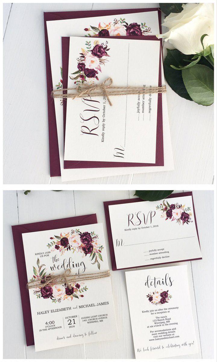 Rustic Marsala Wedding Invitation | Wedding, Wedding and Vintage ...