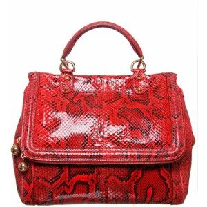 Dolce Gabbana Snakeskin Clutch Sicily Phone Bag Red 06549