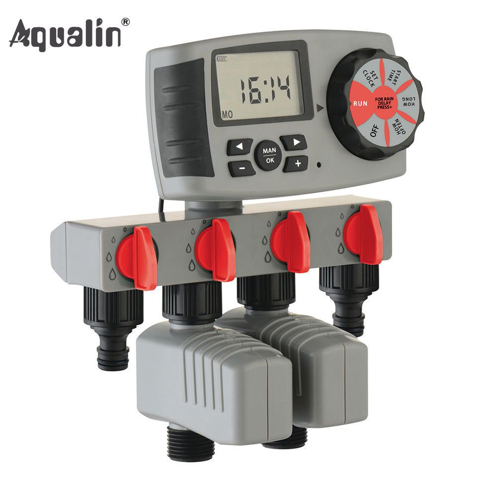 Automatic 4 Zone Irrigation System Watering Timer Garden Water Timer Controller Aqualin With Images Automatic Irrigation System Irrigation Timer Water Timer