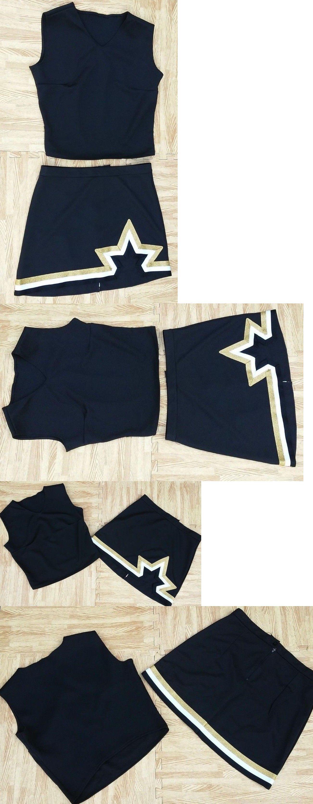 c0af02fdcec Cheerleading 66832  Adult L Real Black Gold Cheerleader Uniform Top Skirt  38-40 30-31 Saints New -  BUY IT NOW ONLY   30.99 on  eBay  cheerleading   adult .