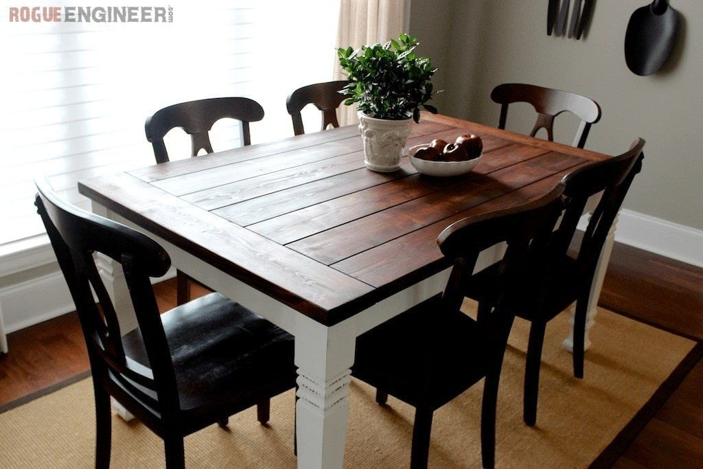 Build An Easy DIY Farm Table . Free Tutorial With Pictures On How To Make A  Table In 6 Steps By Woodworking With Wood, Wood, And Table Legs.