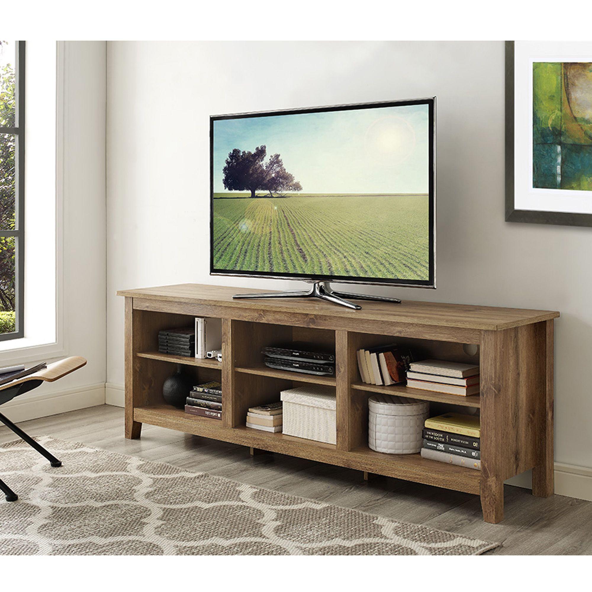 Essentials Barnwood 70 inch TV Media Stand 70 Essentials TV Stand