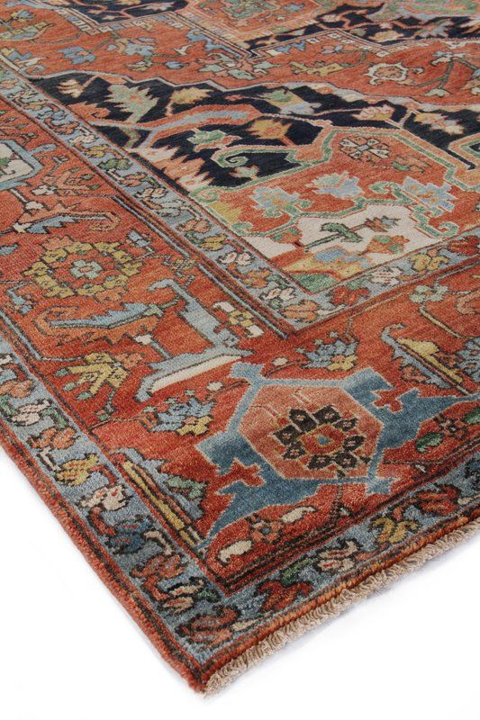 Serapi Hand Knotted Wool Red Blue Area Rug Dining Room