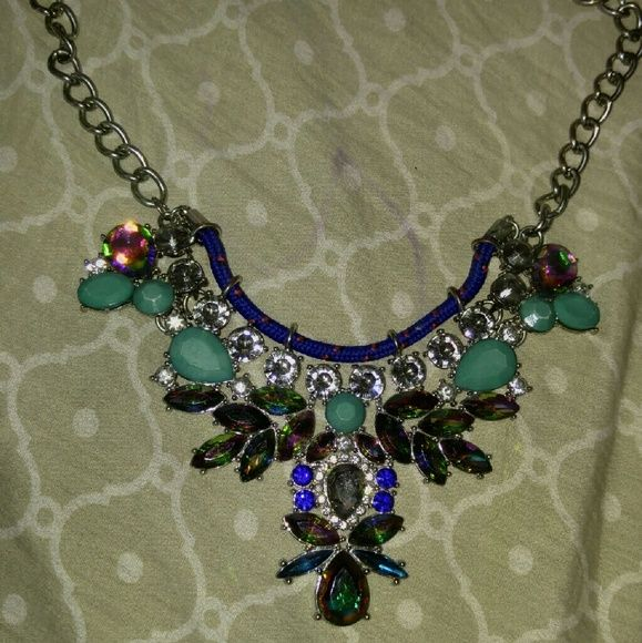 Blue flower statement Beautiful necklace Jewelry Necklaces
