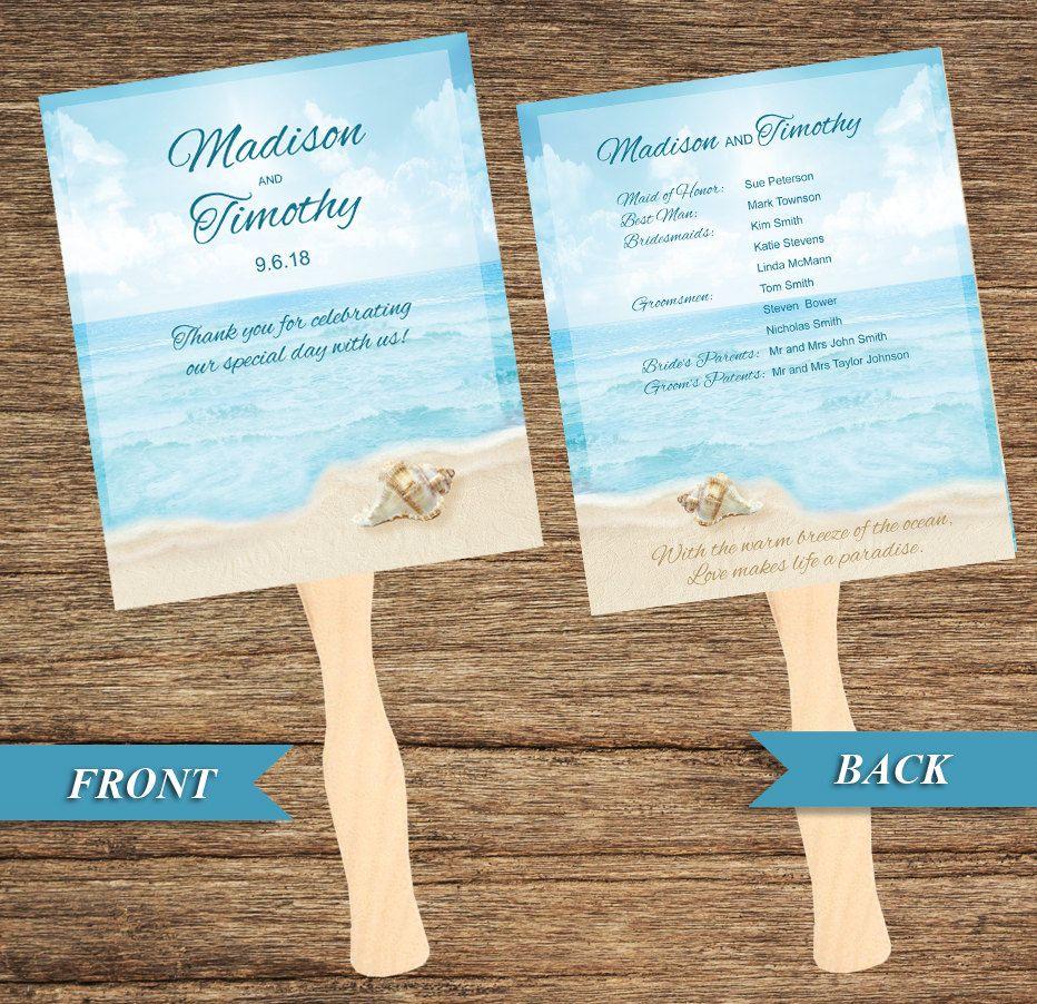 beach fan and wedding program bch 03 fp digital download great
