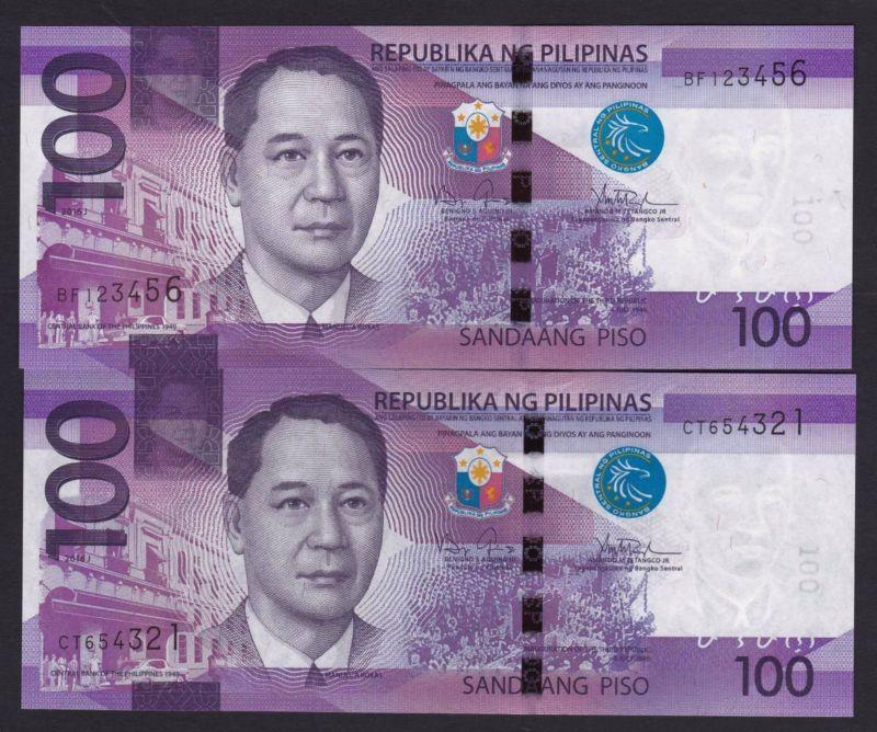 Banknote 2016J Philippines 100 Pesos Ngc Ladder Serial
