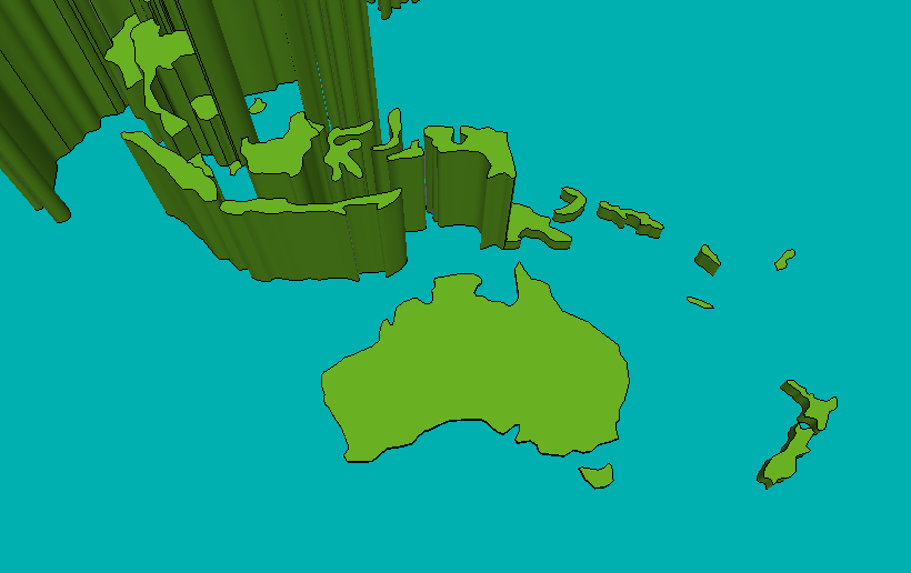 3d Map Of South Australia.3d World Population Density Map Australia New Zealand And South