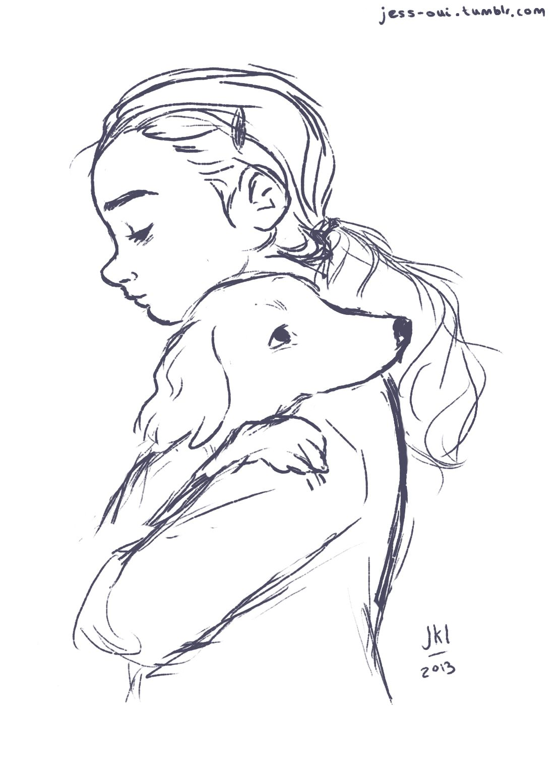 Uncategorized Drawing People Hugging girls dog face drawing when in doubt just draw wip sketch of a girls