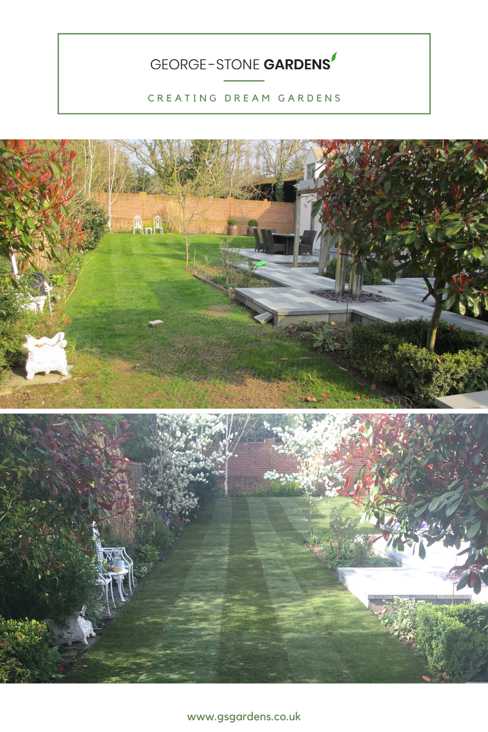 We transformed the lawn of this Cotswold garden with new turf. #gardenlawnideas #gardenlandscaping #gardendesign