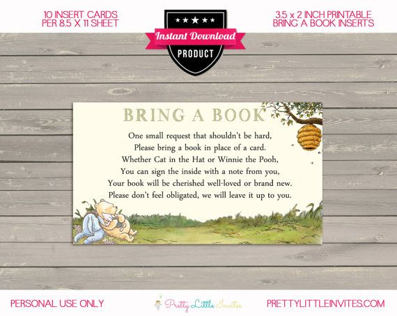 Winnie The Pooh Baby Shower Bring A Book Bring A Book Card Etsy Create Sign Winnie The Pooh Cards