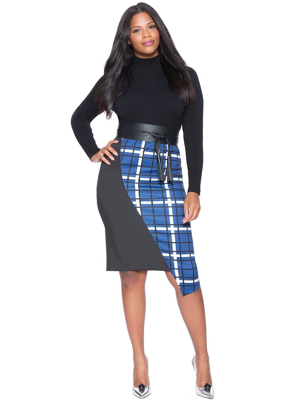 292264f10a351d Asymmetrical Colorblock Pencil Skirt | Women's Plus Size Skirts | ELOQUII
