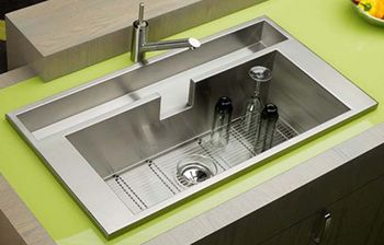 drop in contemporary stainless steel kitchen sink | kitchen cabinets ...