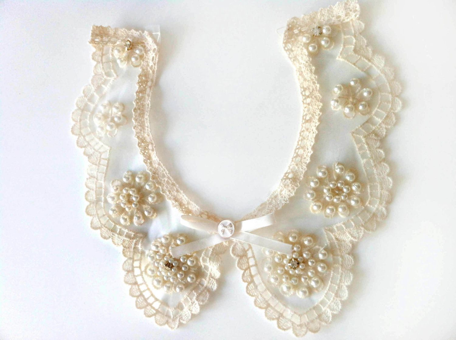 Vintage Peter Pan Necklace Organza Collar Embroidered with Pearls ...