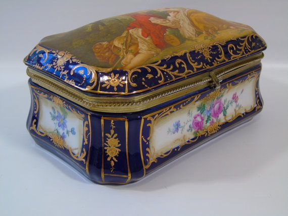 Vintage Rs Prussia Reproduction Porcelain Domed Lid Victorian Vanity Trinket Box F Boucher La Marotte Prussian Jewelry