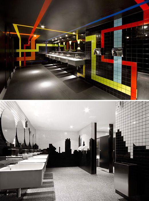 Rail + skyline toilets in Melbourne central. by Claren Cousins architecture