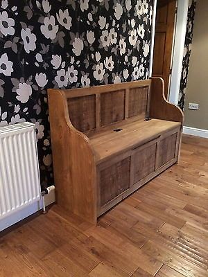 5 Ft Rustic Plank Style Monks Bench Settle Pew With Storage Made To Any Size With Images Built In Seating Kids Room Design Monks Bench