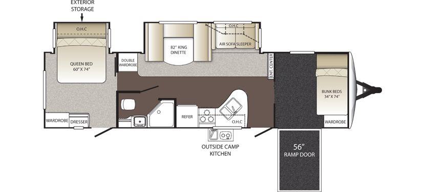 Floorplan Image Of Keystone Outback Model 310tb Rear Queen Bedroom Front Toy Hauler Bunk Room Corner Shower Two Keystone Rv Travel Trailer Keystone Outback
