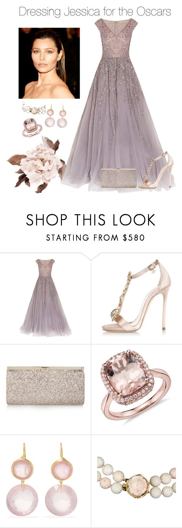 """Dressing Jessica for the Oscars"" by hairkat ❤ liked on Polyvore featuring beauty, Georges Hobeika, Dsquared2, Jimmy Choo, Blue Nile, Marie Hélène de Taillac and Vintage"