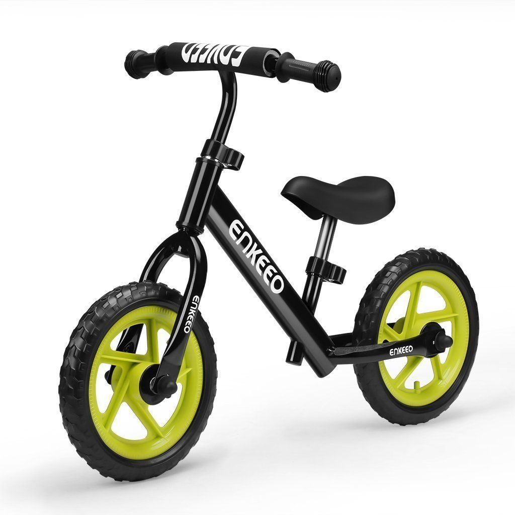 Enkeeo 12 No Pedal Balance Bike For 2 6years Old Kids Carbon Steel Frame Adjule Handlebar And Seat 50kg Capacity Black