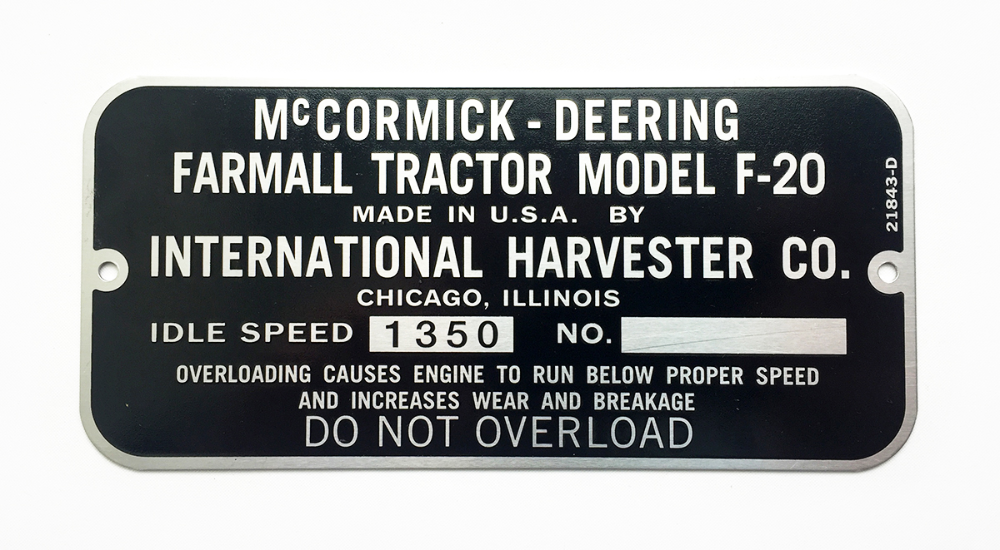 International Harvester Serial Number Plates Octane Press