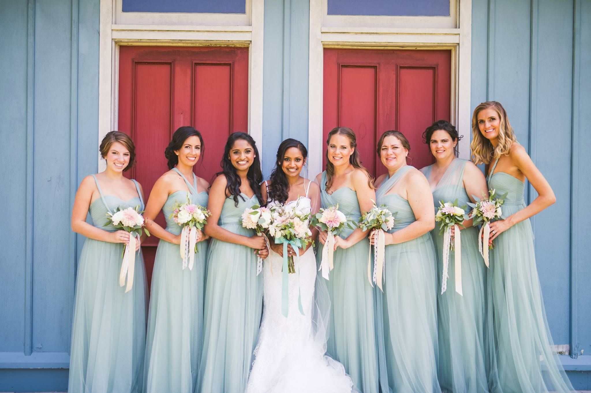 Blush pink, blue wedding. Dahlias, Columbus Ohio, posy
