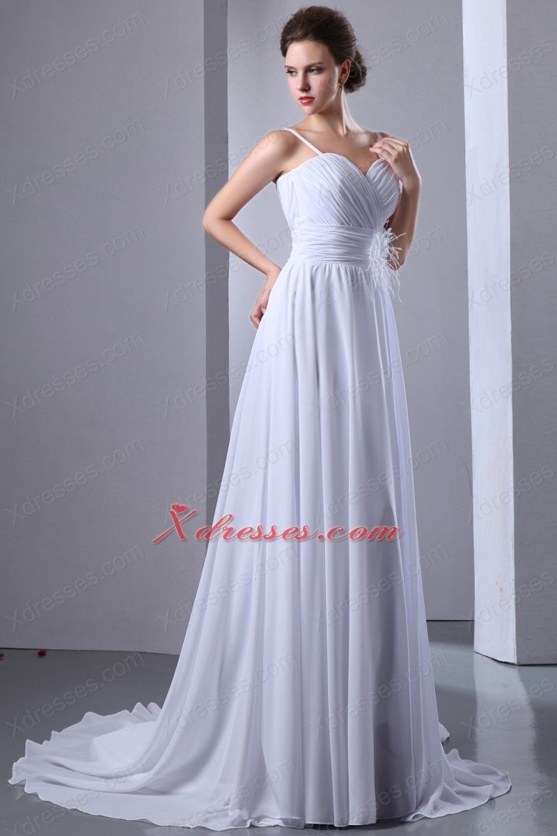 Simple empire spaghetti straps court train chiffon ruch wedding