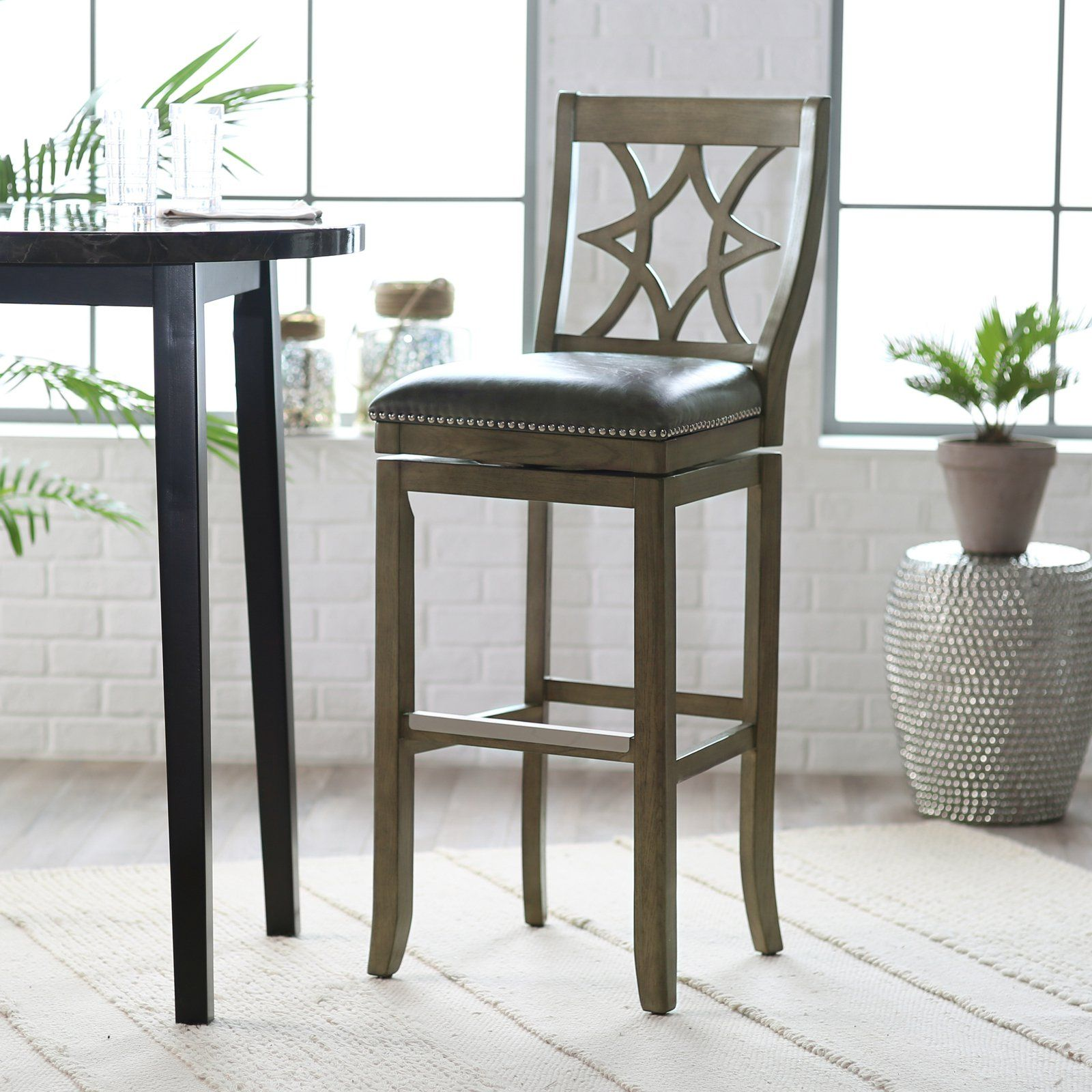 Belham living oliver square seat swivel extra tall bar stool ahb4015 34