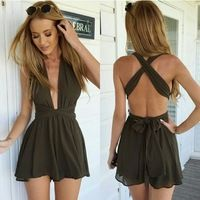 rompers womens jumpsuit Bandage chiffon v-neck backless bodysuit... #shortbacklessdress