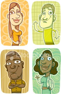 Four Portraits of Smiling People Royalty Free Stock Vector Art Illustration