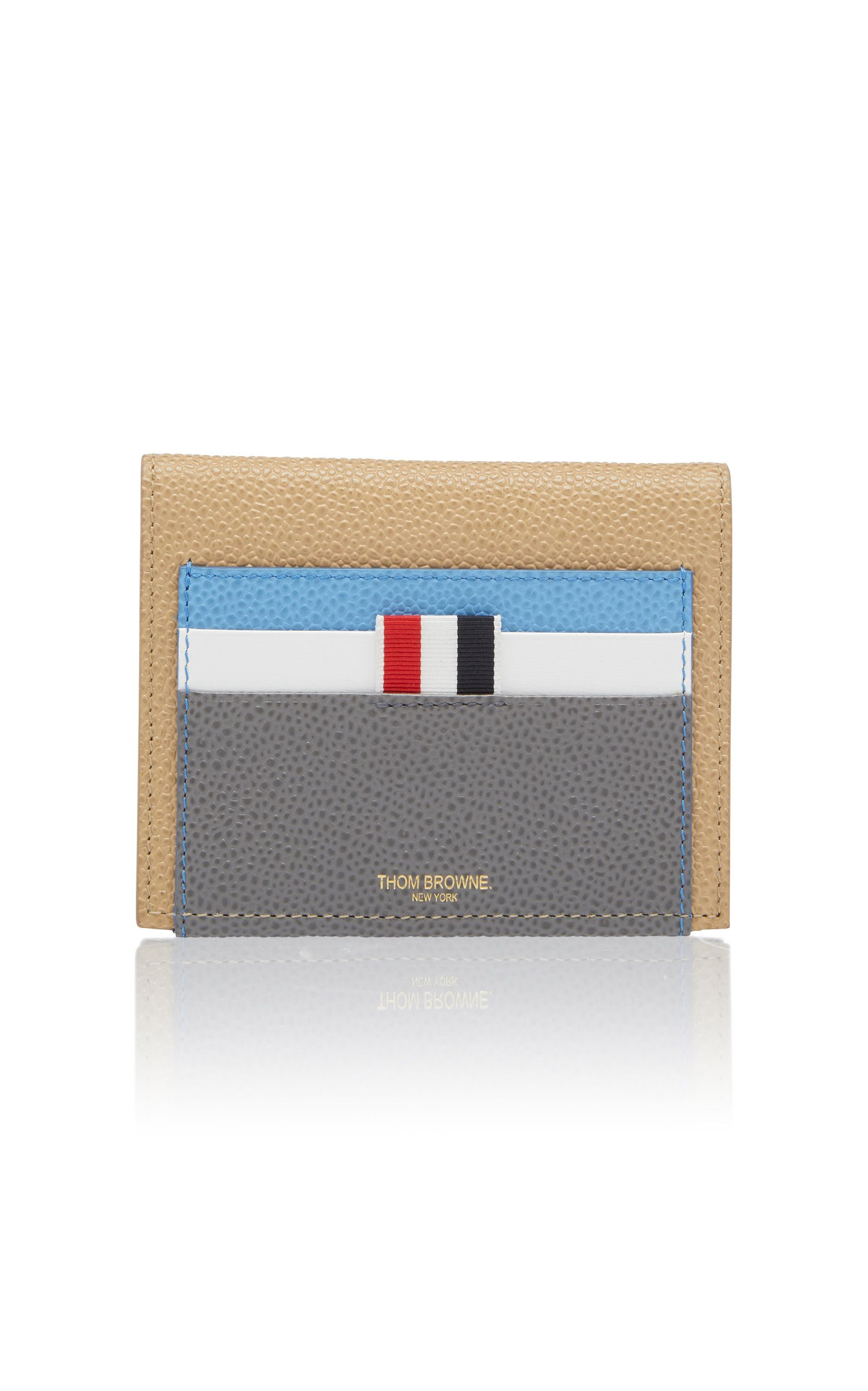 669e0c1a65 THOM BROWNE COLOR BLOCK TEXTURED LEATHER CARD CASE. #thombrowne #bags # leather #wallet #accessories