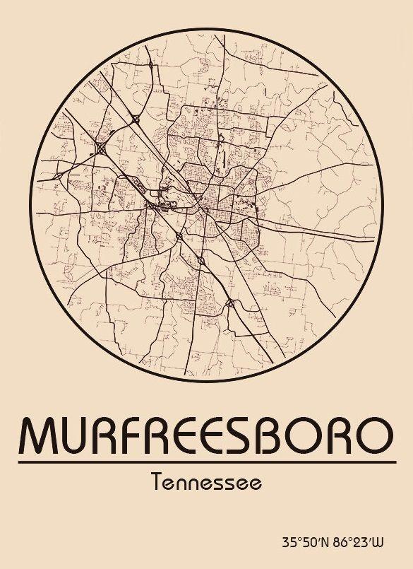Karte Map Murfreesboro Tennessee Vereinigte Staaten Von Amerika United States Of America Usa Murfreesboro Tennessee Tennessee Rutherford County