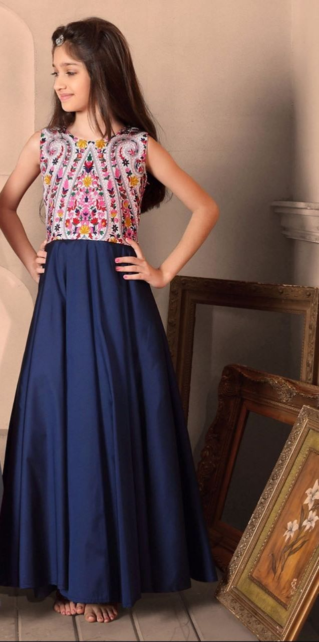 Blue color long gown dress for kids in vd pinterest blue