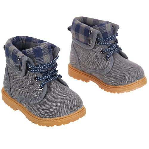 Koala Baby Boys Hard Sole Lumberjack Boots Blue Gray
