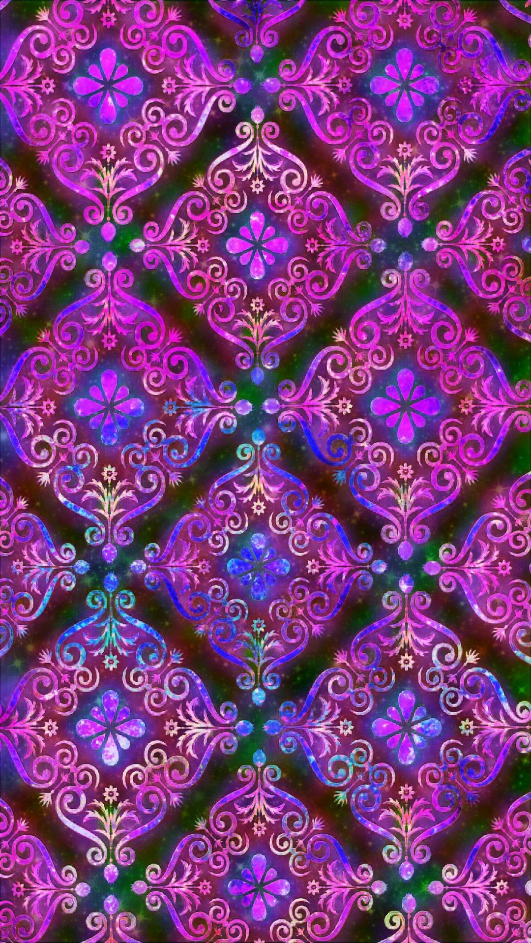 Floral Damask Galaxy, made by me patterns purple