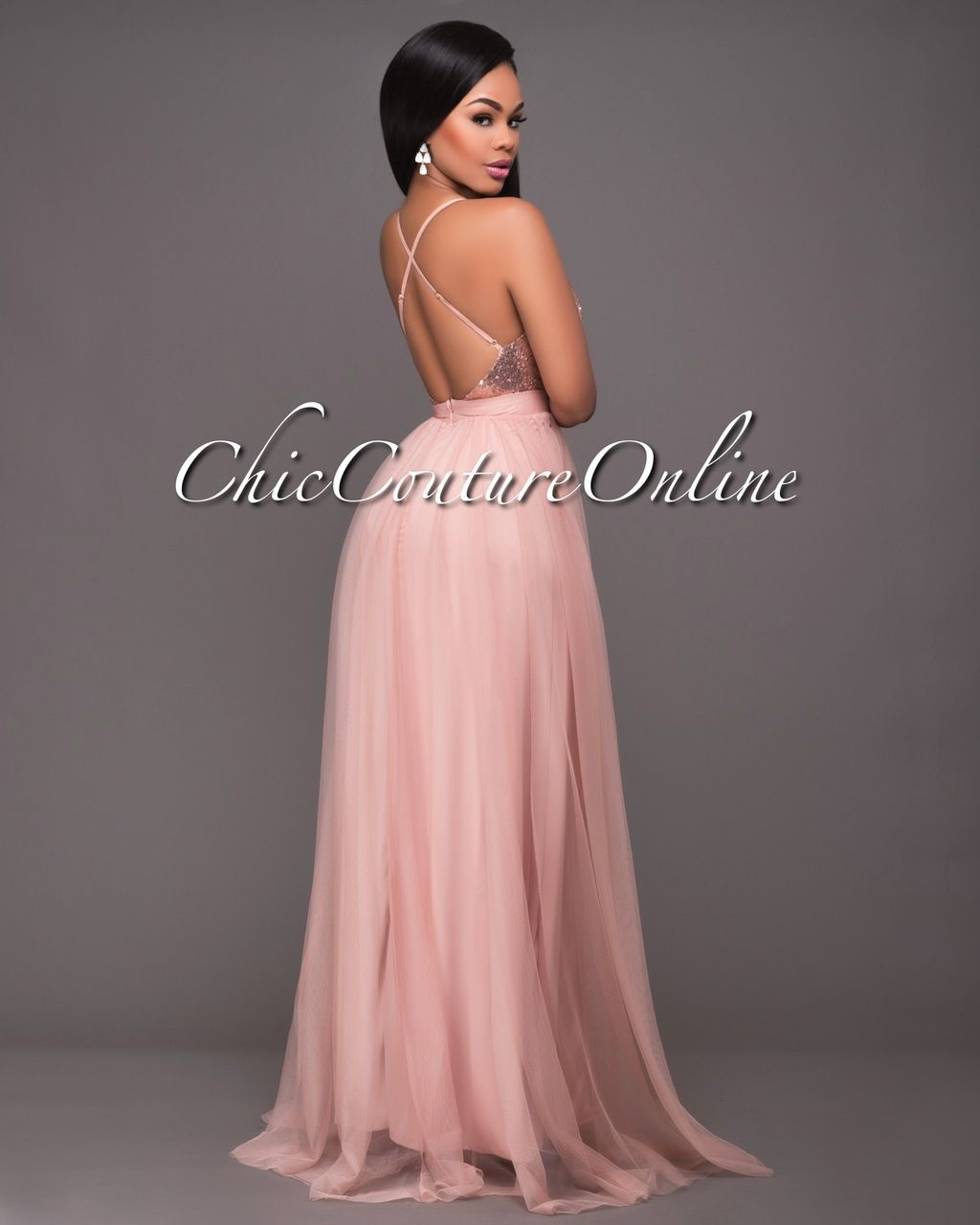 Chic Couture Online - Paloma Blush Tulle Rose Gold Sequins Maxi ...