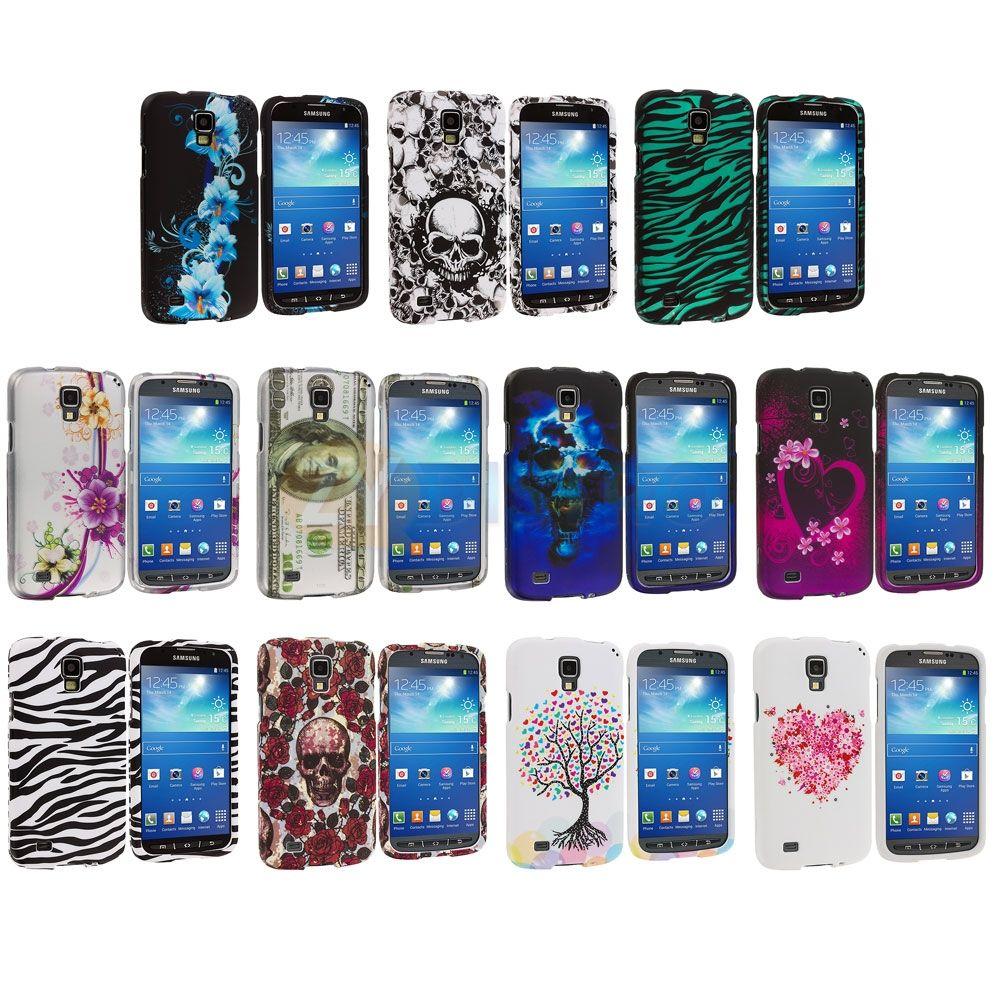 For Samsung Galaxy S4 Active i537 Design Hard Rubberized Case Cover Accessory suosikit: Pääkallot musta/valkoinen, valkealla pohjalla oleva sydän, mustalla pohjalla oleva sydän <3