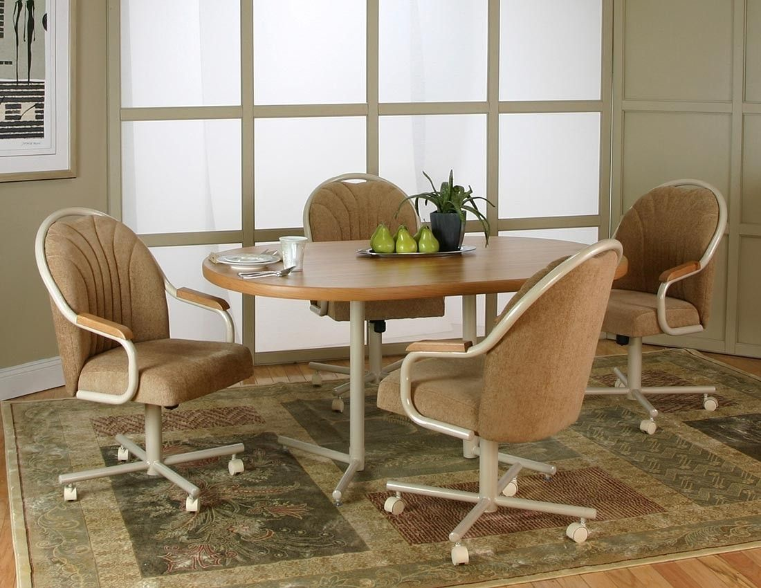 Kitchen Chairs Rolling Casters Leather Dining Room