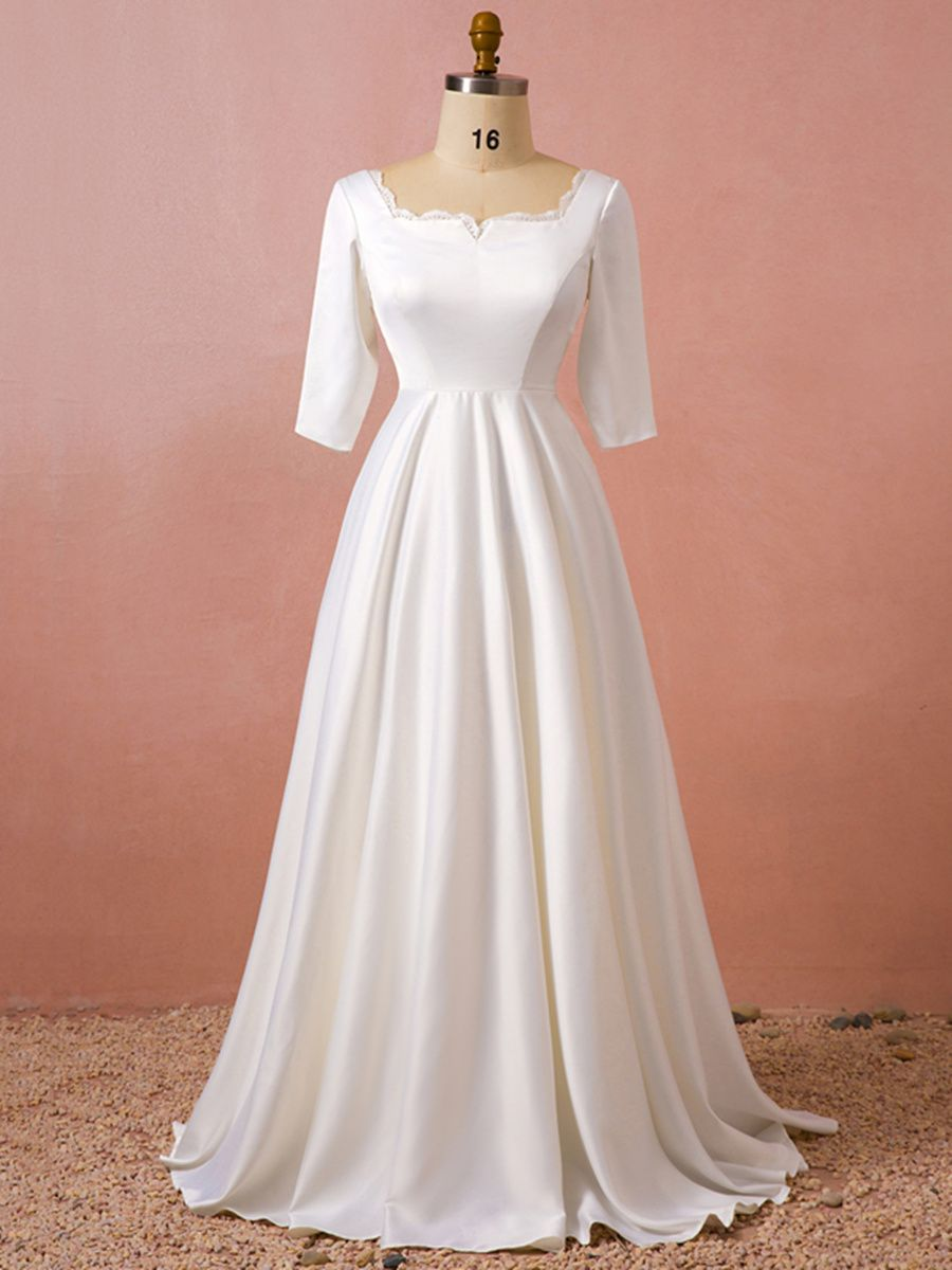 Half sleeve square neck plus size wedding dress in gorgeous