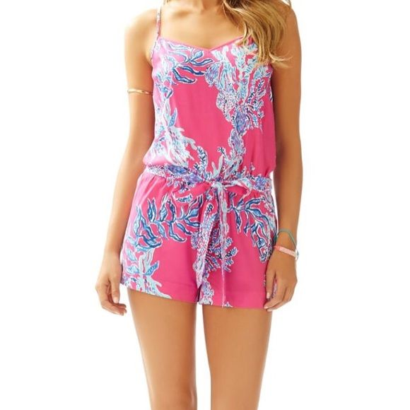Capri pink samba large romper Worn once, a string came out of the bottom of the romper, $80 on ️️ Lilly Pulitzer Tops