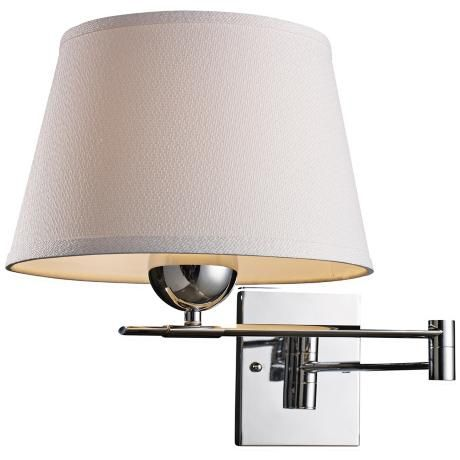 """Lanza Polished Chrome Swing Arm Wall Lamp akes one maximum 150 watt 3-way medium base bulb (not included). 13"""" high. 11"""" wide. Extends 12"""" to 25"""" from the wall. Backplate is 5"""" square."""