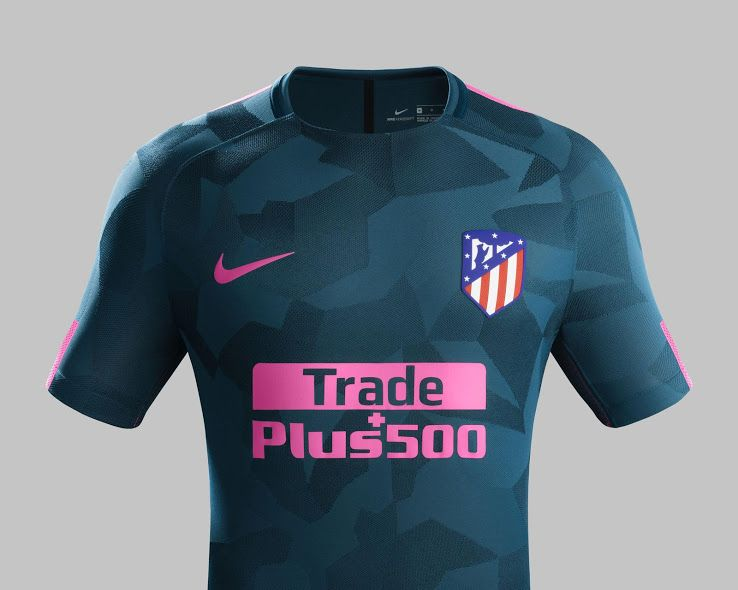 The first-ever Nike Atlético Madrid third jersey introduces a bold look in  'Space Blue' and 'Laser Pink'.