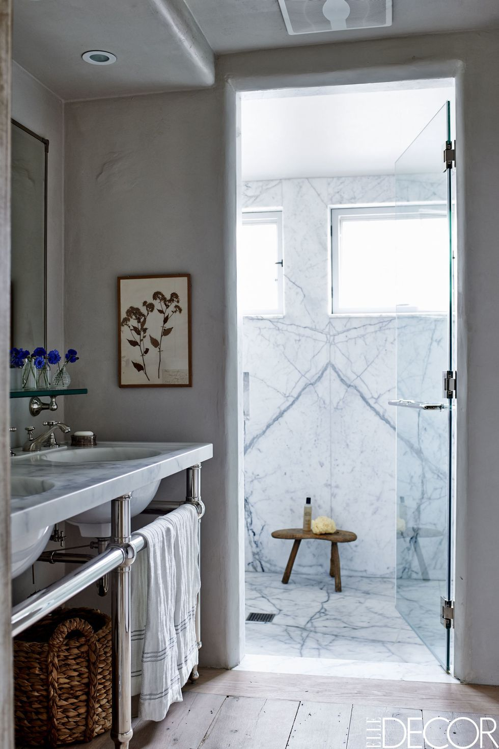 Beautiful Bathroom Design And Sophisticated Decor With Marble Walk In Shower Console Sinks Refined Aesthetic Colour Sense