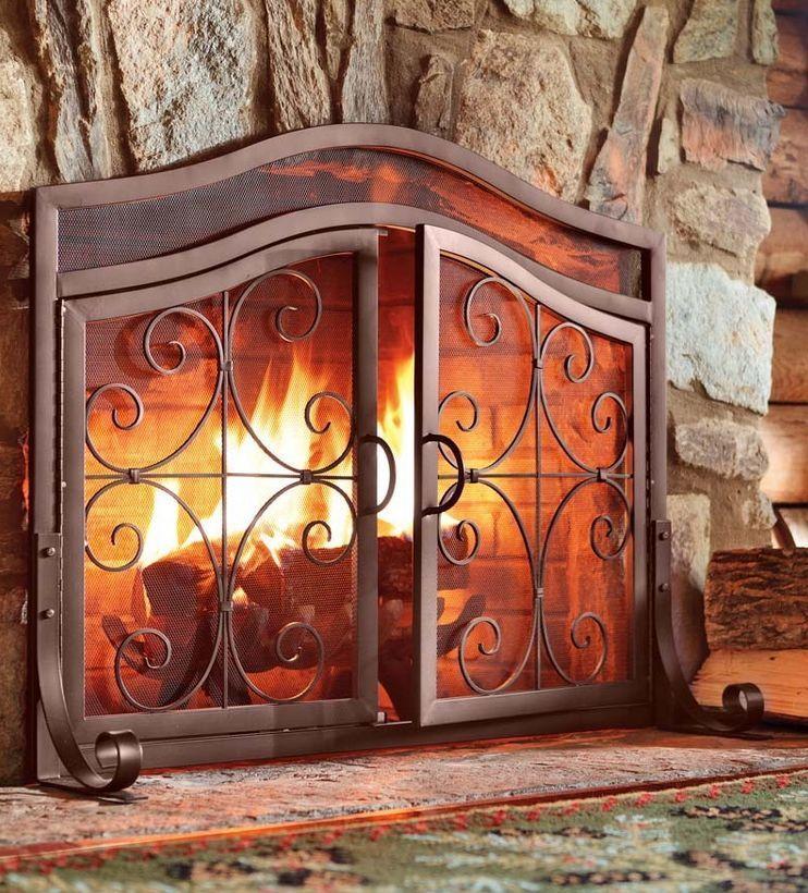 Fireplace Screen Doors Small Copper Firescreen Guard Wrought Iron