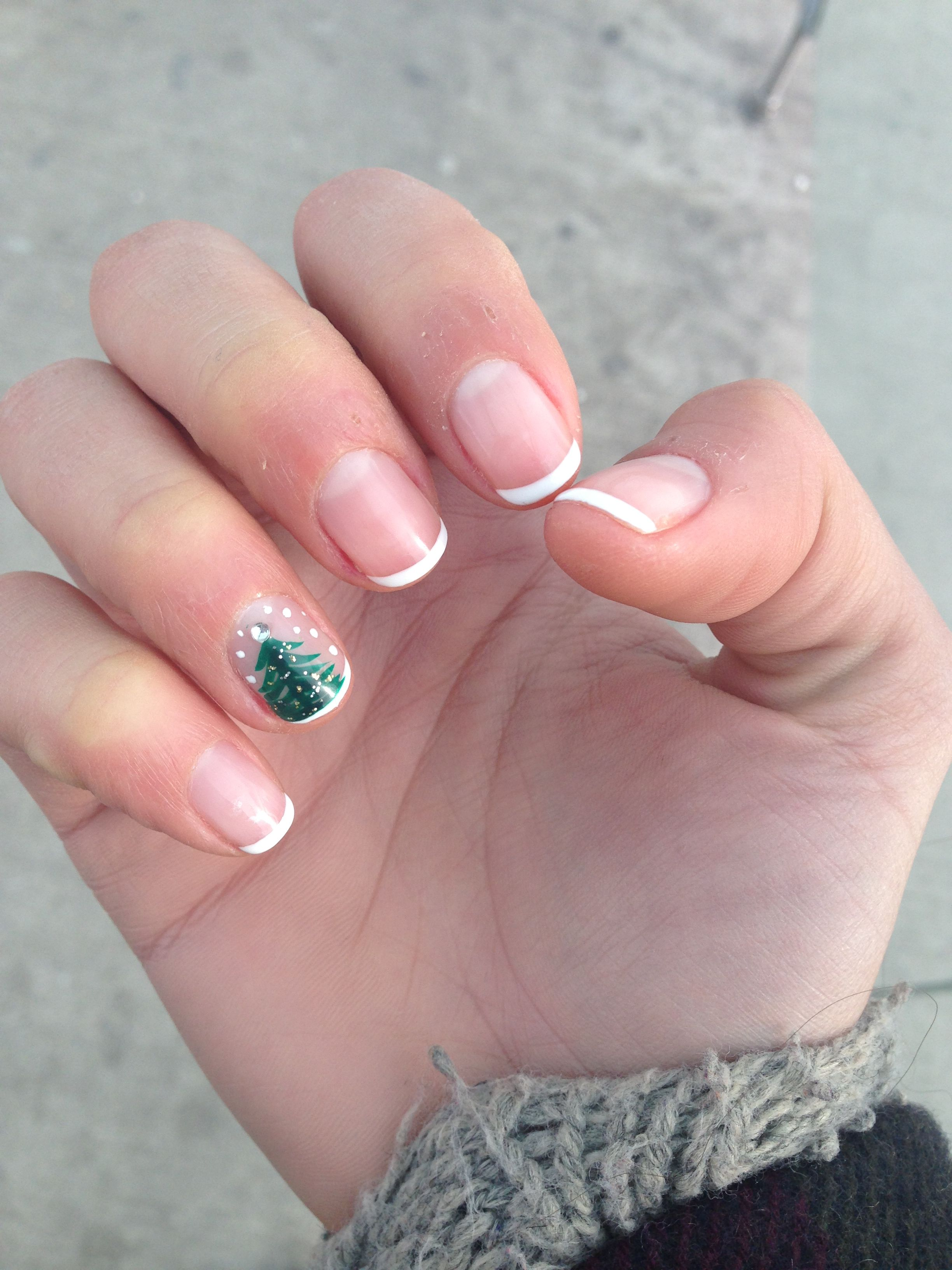 Shellac French Manicure With Holiday Design Paws Claws