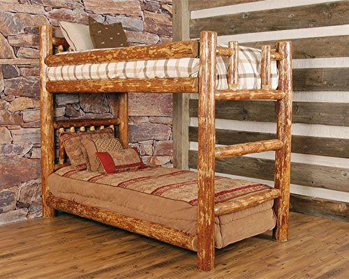 Log Twin Glacier Bunkbed Bunk Beds Cabin Furniture Rustic Bedroom