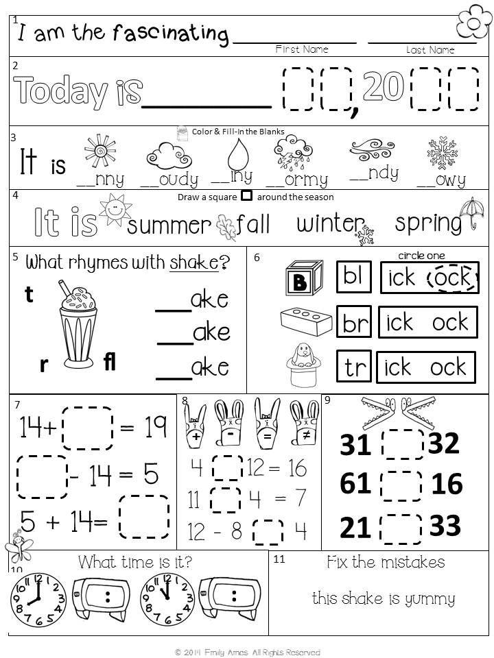 Morning Work First Grade Packet for April – Morning Work Worksheets