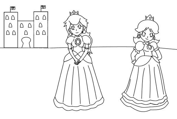 Princess Peach Coloring Pages Princess Peach And Daisy By