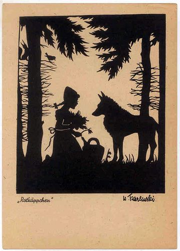 Little Red Riding Hood, old German fairy tale postcard of Rotkäppchen.