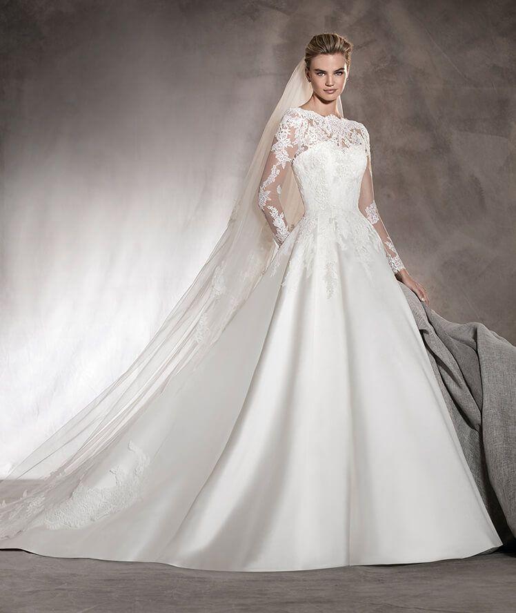 ALHAMBRA - Mikado wedding dress with lace, bateau neckline and ...