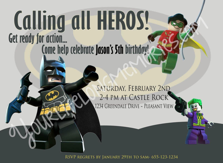 Lego+Batman+Birthday+Invitation+by+YLLM+on+Etsy,+$15.00 | Birthday ...